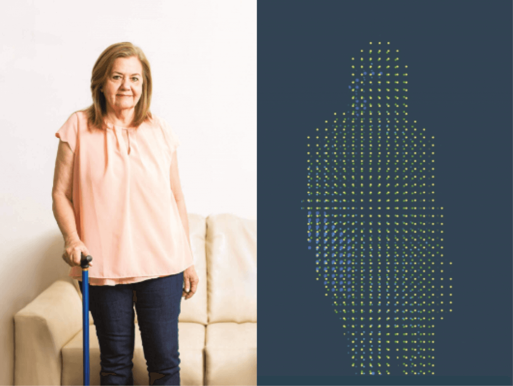 Woman standing with cane, and point cloud showing her shape